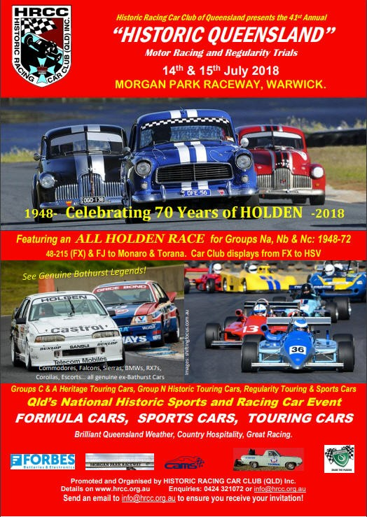 """Historic Qld"" Club Display and Parade Laps + Cruise @ Morgan Park Raceway 